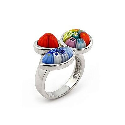Millefiori Sterling Silver Multi Shape Glass Ring