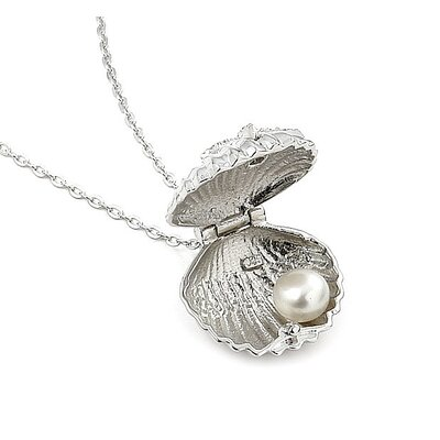 Plutus Partners Sterling Silver Seashell Cubic Zirconia and Freshwater Pearl Locket