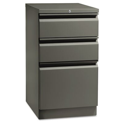 HON Flagship Mobile Box/Box/File Pedestal, Full Radius Pull, 19-7/8d, Light Gray