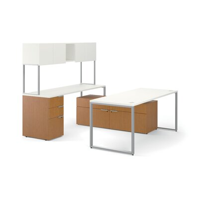 HON Voi Contemporary U-station with Low Credenza and Stack-On Storage