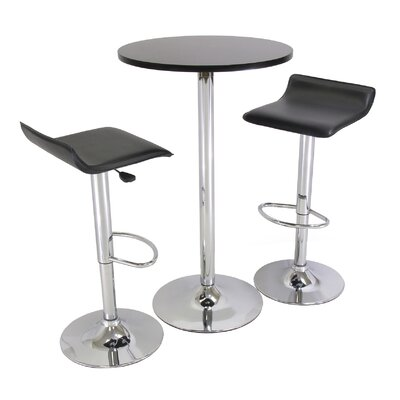 Winsome 3-Piece 24&quot; Pub Table Set with Chrome Accents