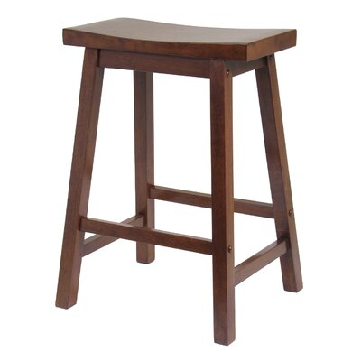 Winsome Saddle Seat 24&quot; Counter Stool in Walnut