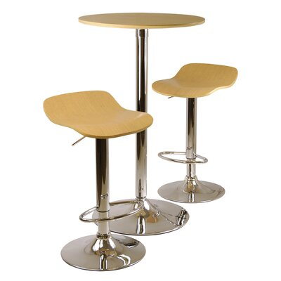 Winsome Kallie 3 Piece Pub Table and Stools Set in Natural