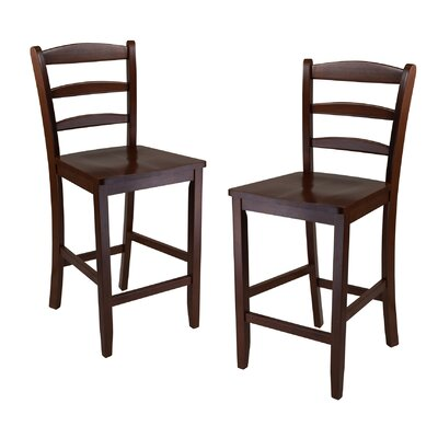 "Winsome Ladder Back 24"" High Chair in Antique Walnut (Set of 2)"