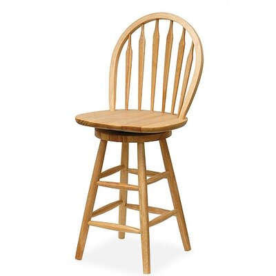 "Winsome Basics Natural 24"" Swivel Windsor Bar Stool"