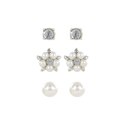 Roman Trio Set Pearl and Crystal Stud and Button Earrings
