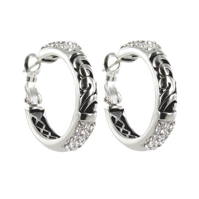 Sunstone Bali Bling Sterling Silver Pave Hoop Earrings