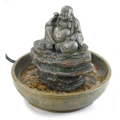 Polyresin Smiling Buddha Tabletop Fountain