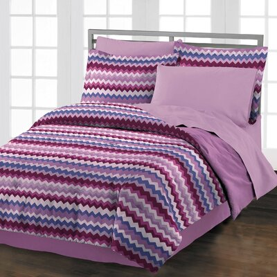 Blackberry Chevron 3 Piece Comforter Set