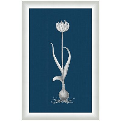 White Flora on Blue Linen I Wall Art