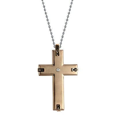 GoldnRox Stainless Steel Cubic Zirconia Cross Pendant