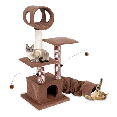 "Penn Plax 18.75"" Activity Lounging Tower and Tunnel with Retreat Hide-Away Cat Tree"