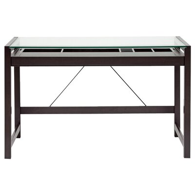 Baxton Studio Idabel Wood Modern Writing Desk with Glass Top