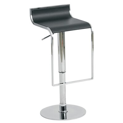 Nuevo Alexander Adjustable Bar Stool in Black Leather