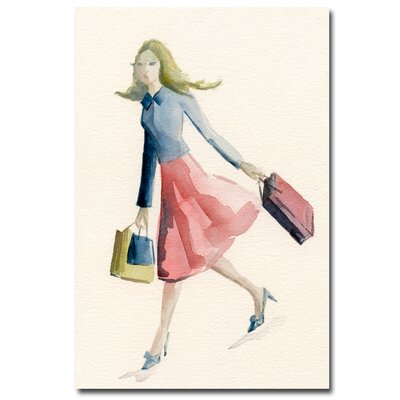 "Trademark Fine Art ""Woman Shopping - Blue Jacket"" Canvas Art"