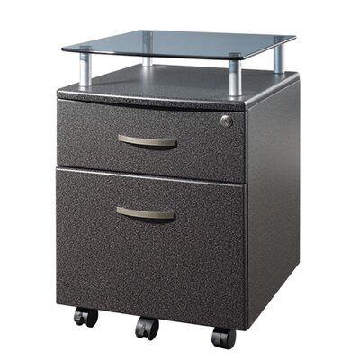 Techni Mobili Two Drawer File Cabinet with Glass Shelf