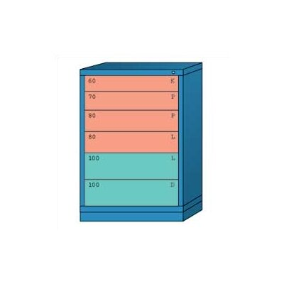 "Lyon Workspace Products Counter High Standard Cabinet with 6 Drawers: 30"" W x 28 1/4"" D x 44 1/4"" H"