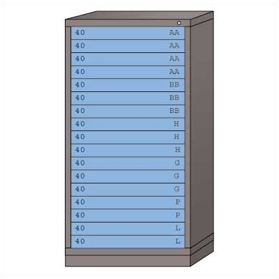 "Lyon Workspace Products Eye-Level High Standard Cabinet with 17 Drawers: 30"" W x 28 1/4"" D x 59 1/4"" H"