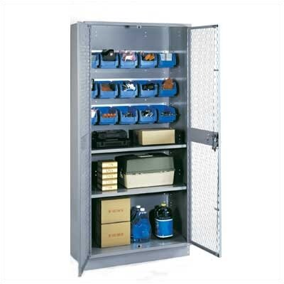 "Lyon Workspace Products All-Welded Visible Storage Cabinet with 2 Shelves, 15 Bins, and 4"" Base: 72"" H x 36"" W x 18"" D"