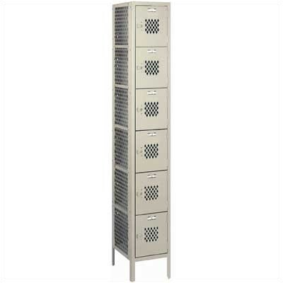 Lyon Workspace Products Expanded Metal Locker - Six Tiers - 1 Section (Unassembled)