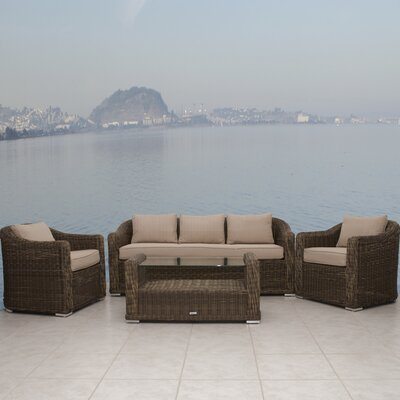 International Home Miami Palma 4 Piece Deep Seating Group with Cushions