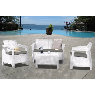International Home Miami Atlantic Java 4 Piece Lounge Seating Group with Cushions