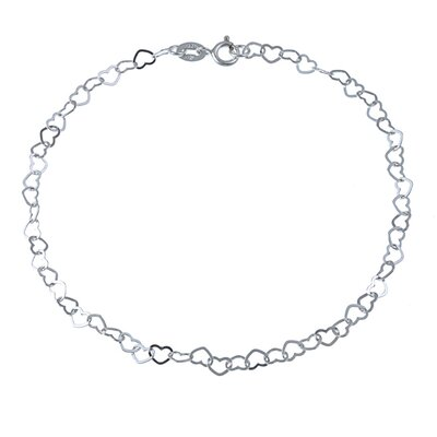 Sterling Silver 10 inches Flat Heart Links Anklet