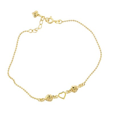 Sterling Essentials 14k Gold over Silver 9 inches Heart Anklet