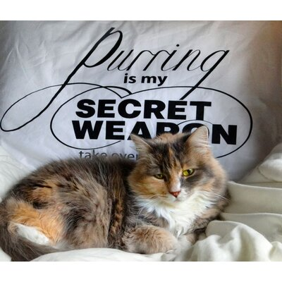 "Dog SnorZ ""Purring Is My Secret Weapon"" Cotton Pillowcases (Set of 2)"