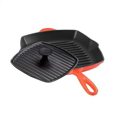 Le Creuset Enameled Cast Iron 10&quot; Flame Grill Pan Set