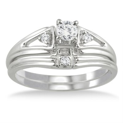Szul Jewelry 10K White Gold Round Cut Diamond Bridal Ring Set