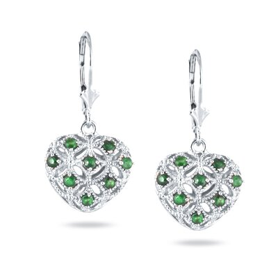 Round Emerald Puff Heart Drop Earrings