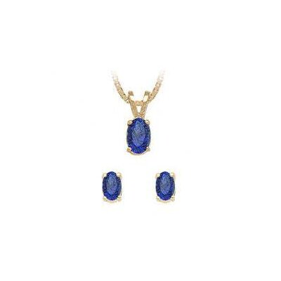14K Yellow Gold Oval Cut Sapphire Earrings and Pendant Set