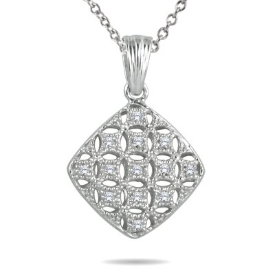 Sterling Silver Round Cut Diamond Puff Filigree Pendant