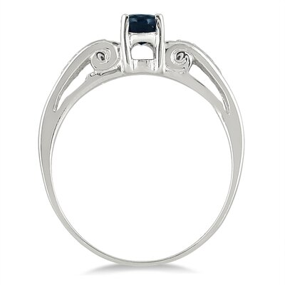 14K White Gold Oval Cut Sapphire Antique Ring