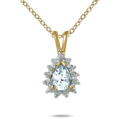 14K Yellow Gold Pear Cut Aquamarine Pendant