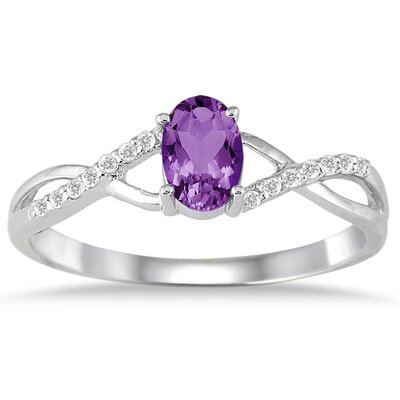 10K White Gold Oval Cut Gemstone Twist Ring