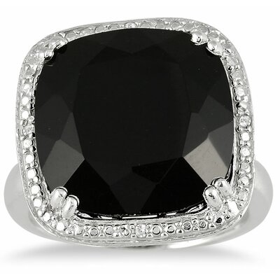 Sterling Silver Cushion Cut Onyx Statement Ring