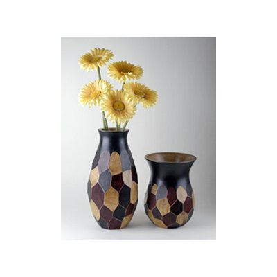 Modern Day Accents Wood Faceted Vase (Set of 2)