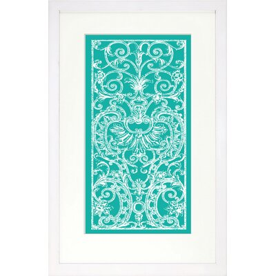 Vibrant Living Aqua Graphic Ironwork Framed Wall Art