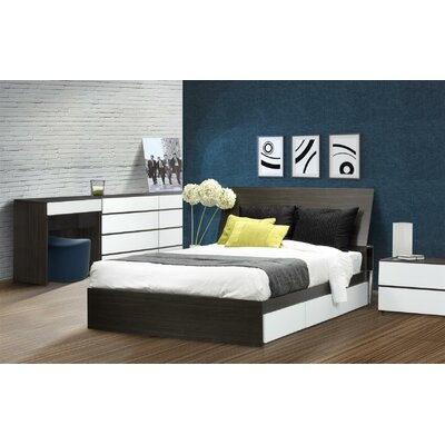 Nexera Allure 4 Drawer Dresser in White and Ebony
