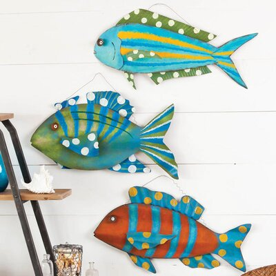 Cape Craftsmen Coastal Delights 3D Metal Fish Wall Decor (Set of 3)
