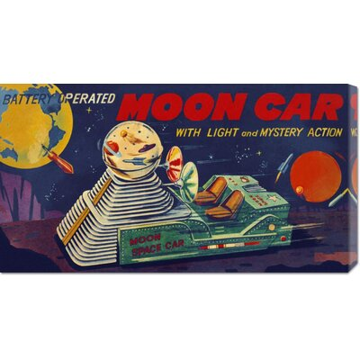 'Moon Car' by Retrobot Stretched Canvas Art