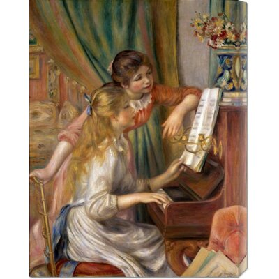 'Two Young Girls at the Piano' by Pierre Auguste Renoir Stretched Canvas Art