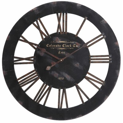 Cooper Classics Elko Clock in Distressed Black