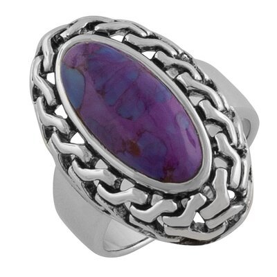 Sterling Silver Rimmed Oval Purple Turquoise Ring
