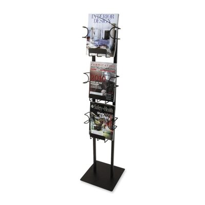 "Buddy Products Magazine Displayer, 3 Pockets, 12""x12""x48"", Black"