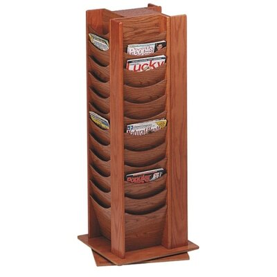 Buddy Products Photo Display Rack, 48 Pocket, 16-3/4&quot;x16-3/4&quot;x49-1/2, Medium Oak/Mahogany