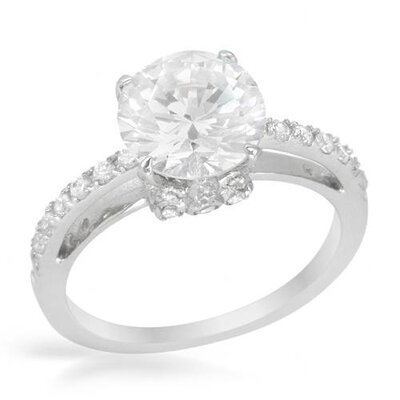 Platinum Sterling Silver Cut Cubic Zirconia Ring