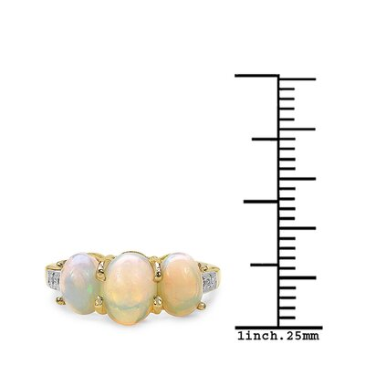 JewelzDirect 925 Sterling Silver Oval Cut Ethiopian Opal Ring